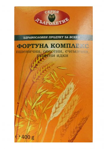 FORTUNA complex oats, rye, barley and wheat kernels in a box